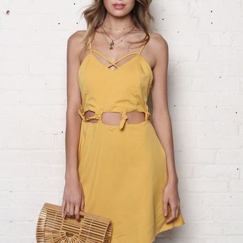 Knot Today Cutout Skater Dress - Yellow