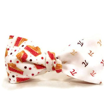 Pi Pie bowtie, Pi bowtie, Pie bowtie, accessory, math bowtie, pi day, pi gift, science bowtie, apple pi cherry pi, reversable bowtie