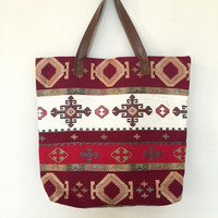Ethnic Boho Style Carpet Tote Bag, Turkish Kilim Texturized Fabric Bag with Brown Genuine Leather Strap