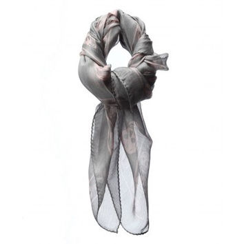 Alexander Mc Queen Gray And Pink Skull Print Scarf  (Alexander McQueen)
