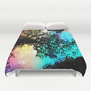 Black Trees Colorful Space bright Duvet Cover by 2sweet4words Designs