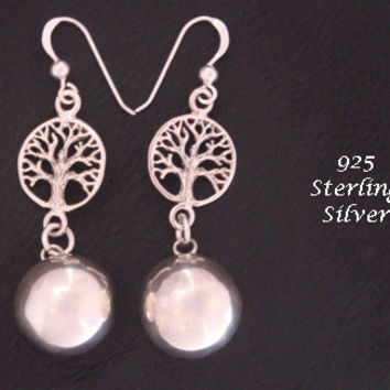 Harmony Ball Earrings Featuring 925 Sterling Silver Tree of Life and Highly Polished 925 Sterling Silver Harmony Ball | Earrings 021