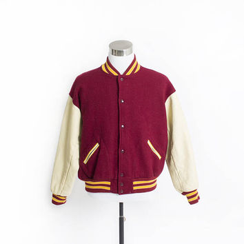 Vintage 1980s Letterman Jacket - Burgundy Wool Knit Beige Leather  Varsity Jacket - Large 48