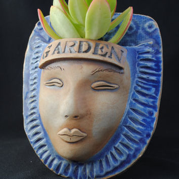 garden face planter ceramic wall pocket mask by WickedClayGirl