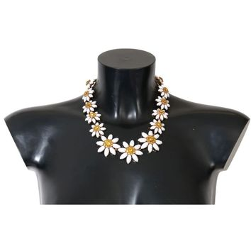 Dolce & Gabbana Gold Brass Sunflower Floral Crystal Necklace