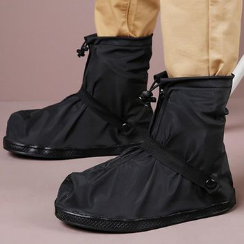 2018 Women Leather Boots Covered Thick Soles Rainproof Shoe Covers Low Tube Pure Black Rain Boots Ugs Australia Boots Women 245