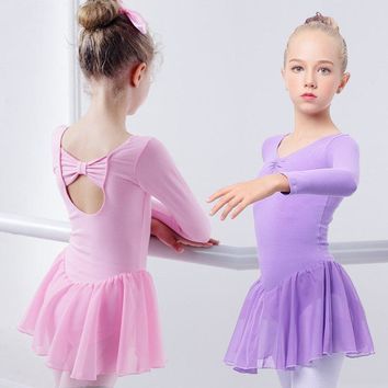 Girls Ballet Dress Gymnastics Leotard Long Sleeve Skirted Ballet Clothing Dance Wear With Chiffon Skirts