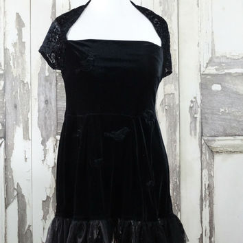 women's Black Velvet Goth Dress with Black Bird Appliques and Skull Lace Hem Upcycled Clothing Dark Fairy Eco Fashions