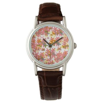 Warm Shades of Orange Fall Colored Leaves Pattern Watches
