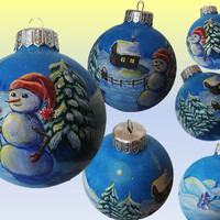 CUSTOM Hand Painted Christmas Ornaments Personalized Christmas ball Snowman Glass Christmas Ornament New year Christmas Craft Gift SOLD