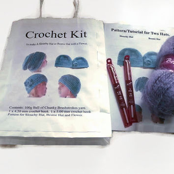Crochet Kit Gift Set - Slouchy Hat or Beanie Hat with Flower. Purple Yarn. Pattern, Tutorial, Wool, Crochet Hooks,