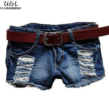 FANALA Women Jeans Shorts Summer Women Fashion Sexy Jeans Shorts Hole Lace Patchwork Denim Shorts Jeans Fit Lady S M L XL