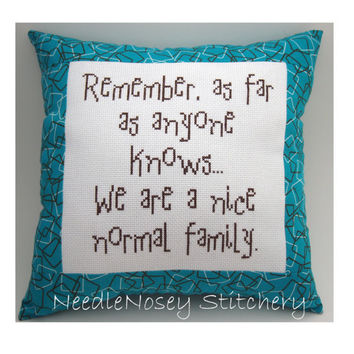 Cross Stitch Pillow Funny Quote Teal and Brown by NeedleNosey