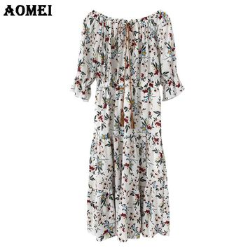Woman Fashion Summer Print Floral Dresses Plus Size Casual Lolita Vestidos Beachwear Femme Dress Robes Mid Calf Length Clothing
