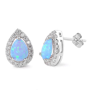 Sterling Silver CZ Simulated Diamond and Simulated Light Blue Opal 13MM Teardrop Halo Earrings