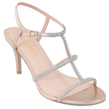 Rose Gold Jeweled Strappy Sandal Formal Heels Women's