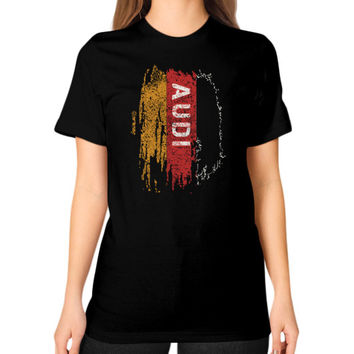AUDI FLAG RED Unisex T-Shirt (on woman)