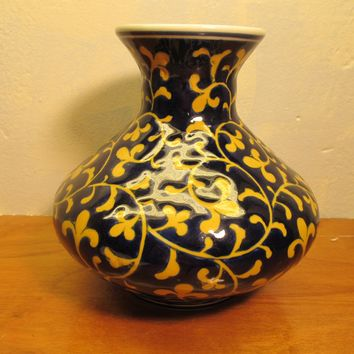 cobalt blue and yellow ceramic vase