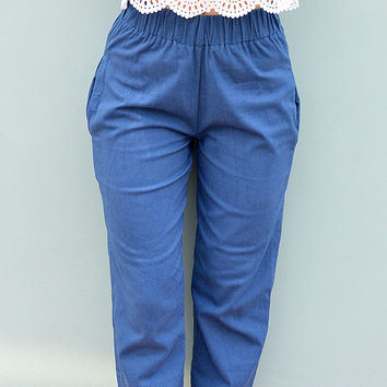 Blue Cotton Peg Leg Trousers by Desire Lines