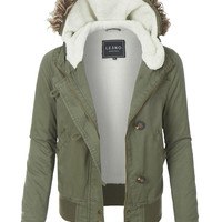 LE3NO Womens Sherpa Lined Anorak Bomber Hoodie Jacket with Pockets (CLEARANCE)