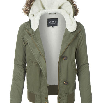 LE3NO Womens Sherpa Lined Anorak Bomber Hoodie Jacket with Pockets