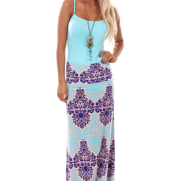 Aqua and Indigo Damask Print Maxi Skirt