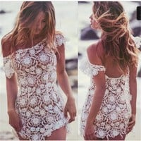 Cover ups Bikini Kmnovo Bikini Cover-Ups Beach Cover Up Swimsuit Lace Cover Up Swimming  Lace Blouse Short-sleeved Lace Beachwear Dress KO_13_1