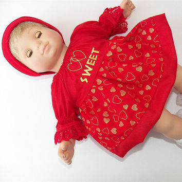 "American Girl Bitty Baby Clothes 15"" Doll Clothes Red Gold Heart Embroidered Peasant Dress and Hat (cap) 2 pc outfit"