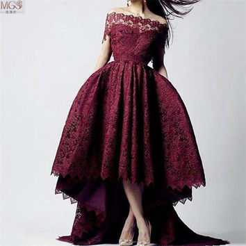 Arabic Dubai 2016 STD Burgundy High Low Off the Shoulder Lace Short Sleeve Short Prom Dresses Vestido De Festa Evening Gown
