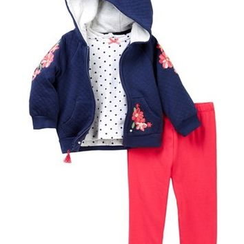 Little Me | Embroidered Hoodie and Legging (Baby Girls) | Nordstrom Rack
