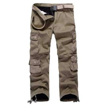 Multi Pockets Drawstring Cuff Flocking Cargo Pants - Dark Khaki 32