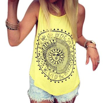 Casual Sleeveless Sunflower Print halter Women Blouses Summer O-neck Cotton female Tops loose shirts blusa feminina --