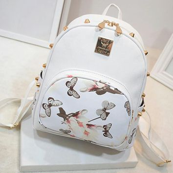 Floral Butterfly Backpack Small Bag