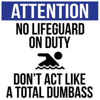 Hilarious 'No Lifeguard on Duty. Don't Act Like a Total Dumbass' Sign for the Pool