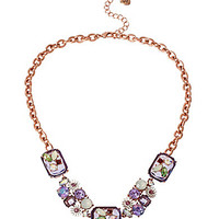 Betsey Johnson Crystal Gem & Faceted Bead Frontal Necklace