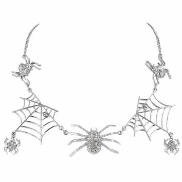 Bella Fashion Spiderweb Spiders Choker Necklace Austrian Crystal Rhinestone Animal Necklace For Women Party Jewelry