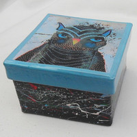 Art Trinket Box - Owl Trinket Box - Painted Owl Box - Unique Trinket Box - Blue Owl Box - Owl Jewelry Box - Gift Owl Lovers