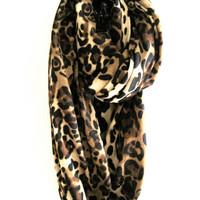 Leopard Infinity Scarf, Tan, Black, Brown