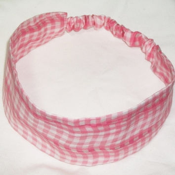 Wide Fabric Headband Reversible Wavy Pink Gingham Wrap Around Women Teens Checkered
