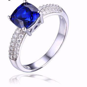 Cushion 2.6ct Created Blue Sapphire Solitaire Engagement Ring 925 Sterling Hand set cz stones