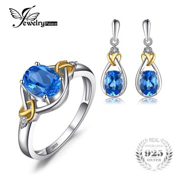 Jewelrypalace Love Knot 18K Gold Aside Natural Blue Topaz Diamond 925 Sterling Silver Jewelry Set  Fine Jewelry  Earring Ring