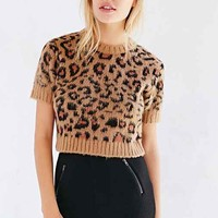 Cooperative Fuzzy Leopard Cropped Sweater- Brown
