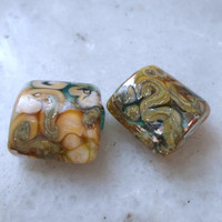 Lampwork Beads, Silvered Pillow Beads, Artisan Glass Beads, Handmade Supplies for Jewelry