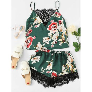 Floral Print Lace Insert Cami Top And Shorts PJ Set