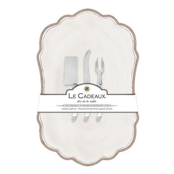 Rustica White Large Cheese Board with Utensils