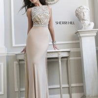 Sherri Hill 11069 Sheer Low Back Prom Dress