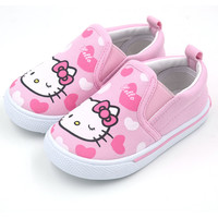 Hello kitty Kids Shoes 2015 New Slip On Children Shoes Girls Shoes Kids Sneakers Soft Canvas Shoes Toddler Girl Casual Sneakers