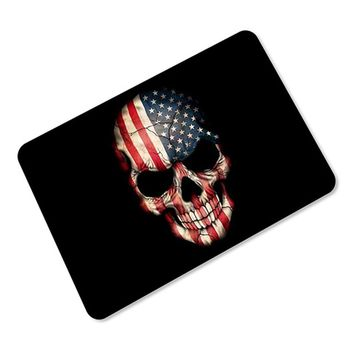 3D US Flag Skull Skeleton Door Mats Area Rugs Anti-skid Rubber Bathroom Bedroom Entrance Welcome Floor Mats 40x60cm 45x70cm