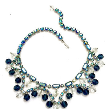 Blue Rhinestone Bib Necklace, Chaton and Baguette Blue Aurora Borealis Rhinestones, Clear & Sapphire Blue Crystal Dangles, Wedding Jewelry