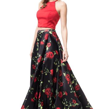 Two piece floral homecoming dress  #TR77259